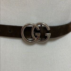 Gucci GG silver belt buckle & brown leather strap